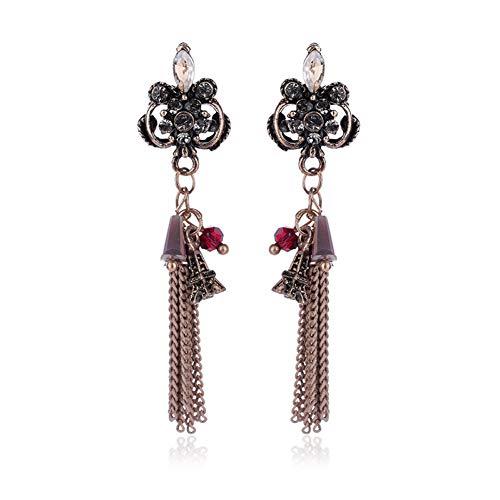 HUGJOU Antike Bronze Kette Fransen Ohrringe Acryl Blume Eingelegt Glockenturm Baumeln Ohrringe Vintage Frauen Schmuck - Glas-antike Bronze Ein Licht