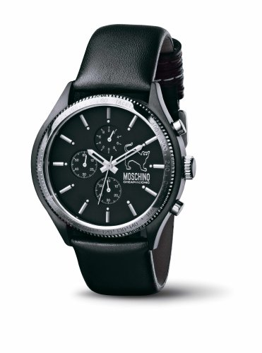 Moschino - MW0066 - Montre Homme - Quartz - Analogique - Chronographe - Bracelet Cuir Noir