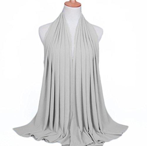 ❤️ SAFIYA - Hijab Kopftuch für muslimische Frauen I Islamische Kopfbedeckung 75 x 180 cm I Damen Gesichtsschleier, Schal, Pashmina, Turban I Musselin / Chiffon - Hellgrau - 3