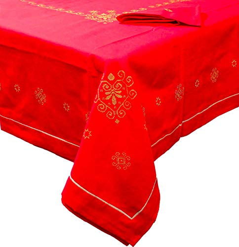 Elitè tovaglia natalizia 18 posti 180x360 cm con ricamo a punto croce + 18 tovaglioli colore oro - 12321-2g