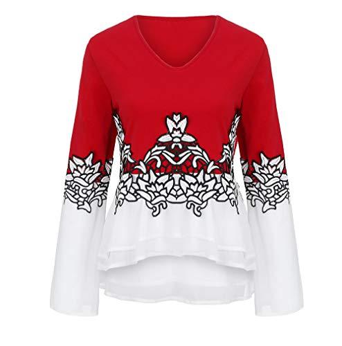 iHENGH Karnevalsaktion Damen Plus größe Blume Spitze Farbe Block Chiffion Frauen v-Ausschnitt Flare hülse Bluse top