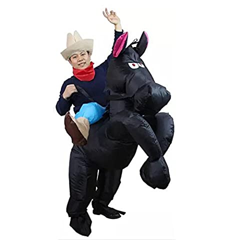 Inflatable Black Horse Riding Cowboy Costume for Adult Unisex