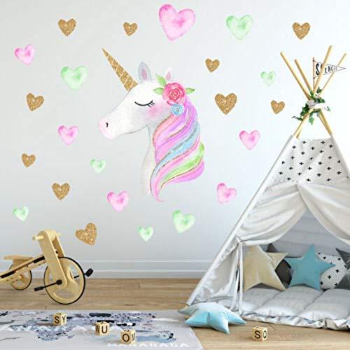 Preisvergleich Produktbild YUSDK Fantasie Einhorn Stern Regenbogen Wandaufkleber Mädchen Schuhe Schlafzimmer Wandkunst Buch Aufkleber