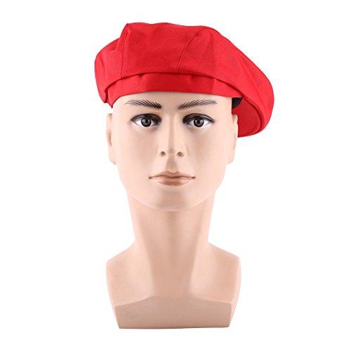 1 Stück Mode Flache Kappe Golfbäcker Männer Frauen Kochmütze Catering Bäcker Begleiter Küche Kochen Entenschnabel Beret(Red) (Red-hat-mode)