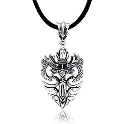 DonDon collar de cuero 50 cm con colgante dragón de acero inoxidable en bolsa de terciopelo de color negro