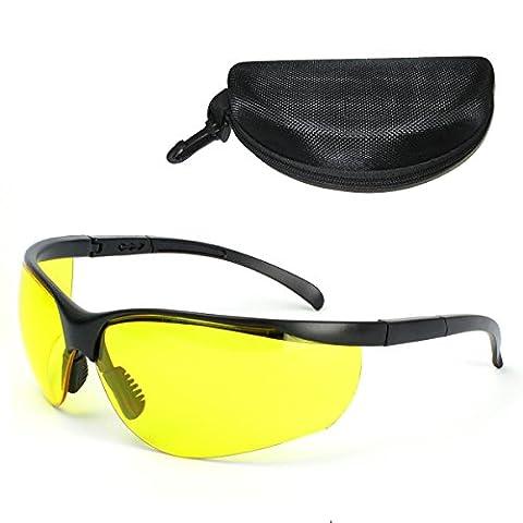 DELIPOP 365-395NM UV Schutz Schutzbrille einstellbare Tempel Lengh gelbe Linse verkehrstauglich medizinische Outdoor-Sportarten