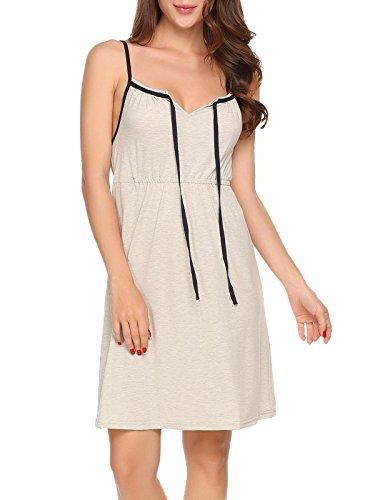 Ekouaer Damen Ärmellos Nachthemd Nachtwäsche Sleepwear Kurz Viskose Nachtkleid Sleepshirt sexy Brief Print Gemütlich Z Grau