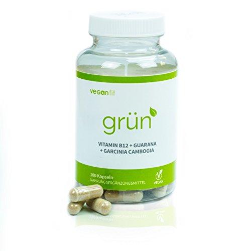 GRÜN - 100% natürliches Fatburner Supplement mit ausgewählten Superfoods. Guarana, Grüntee-Extrakt, Vitamin B12, Garcinia Cambogia - 100 vegane Kapseln zur Unterstützung deiner Diät | Made in Germany