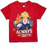 Feuerwehrmann Sam T-Shirt Jungen Rundhalsausschnitt (Rot, 110-116)
