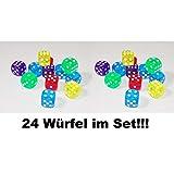 1a-becker 24x Würfel Spielwürfel Spiel Spielezubehör Knobeln Augen Cube transparent bunt
