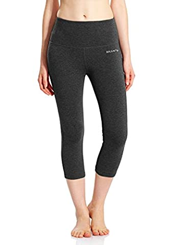 Baleaf Women's High Waist Yoga Capri Leggings Tummy Control Not See-through Fabric Charcoal Size M