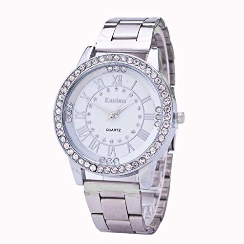 Montre en acier inoxydable,Femmes hommes cristal strass en acier inoxydable bracelets de quartz analogiques montres by LHWY (argent)
