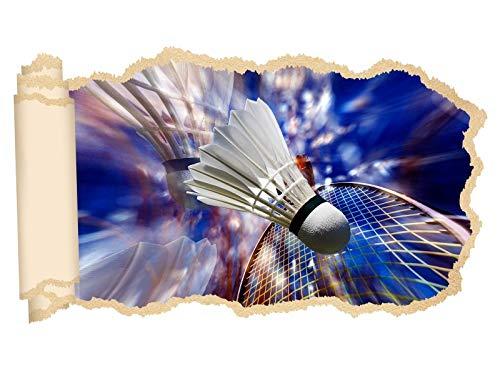 3D Wandtattoo Sport Badminton Federball abstrakt Tapete Wand Aufkleber Wanddurchbruch Deko Wandbild Wandsticker 11N1397, Wandbild Größe F:ca. 97cmx57cm