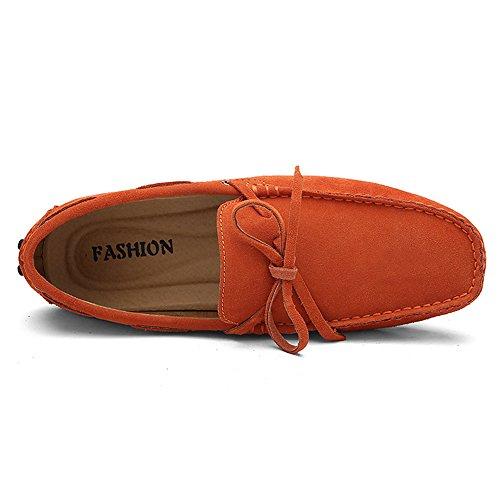 Rismart Hommes Confort Suede Mocassins Doux Cuir Véritable Chaussures de Conduite 3660M Orange