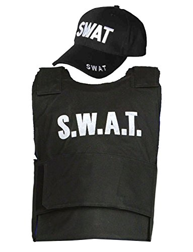 Zubehör Swat Kostüm Girl - Children Boys Girls SWAT TEAM Vest & Cap Costume Outfit 5-10 Yrs Fake Bulletproof World Book Day/Week by FNA Fashions
