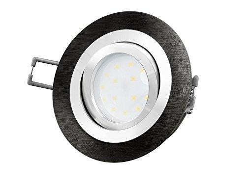 LED-Einbaustrahler Ultra flach (30mm) RF-2 rund Alu schwarz gebürstet schwenkbar mit 5W LED Modul...
