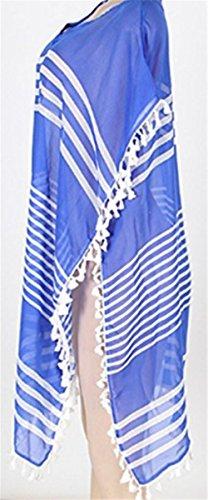 STJD Damen Bikini Cover Up StrandKleid Sommerkleid V-Ausschnitt Kurze gestreift Strand poncho Hellblau