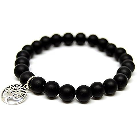 Linus Jade Pulsera de eslabones esféricos negro perla onyx plata de ley 925árbol de la vida # 2