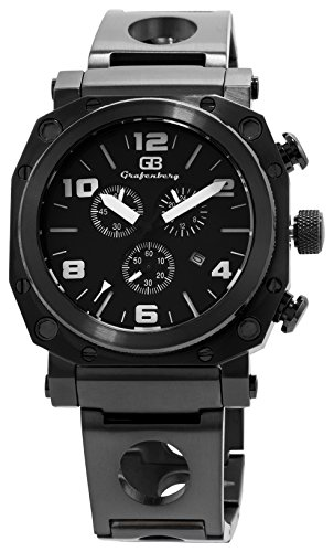 grafenberg-mens-quartz-watch-with-black-dial-analogue-display-and-black-stainless-steel-bracelet-gb2