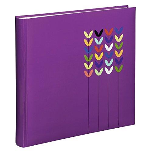 Hama Fotoalbum Blossom (Jumbo Album mit 80 weißen Seiten, für 320 Fotos im Format 10x15, Blüten-Muster, 30x30) XL Fotobuch lila