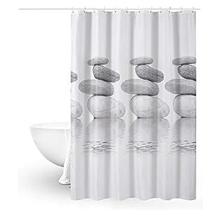 Queta – Cortina de ducha antimoho, 120 x 180 cm, impermeable, con 12 anillas