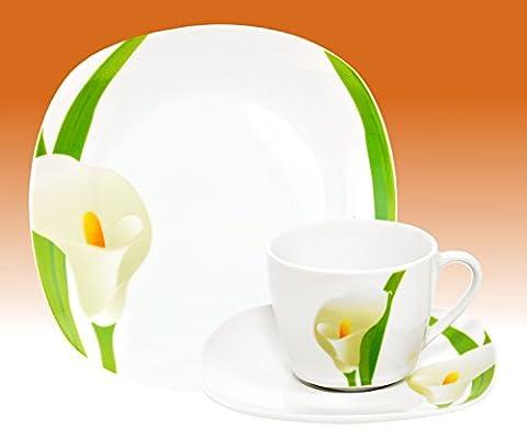 Kaffeeservice Calla 36tlg. eckig Porzellan für 12 Personen weiß mit Blumendekor