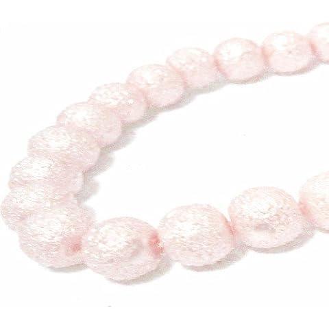 50pcs 8mm superficie ruvida perline in vetro–Effetto Luna–kb0737/8mm, colore: rosa pallido