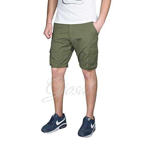 Pantalone Uomo Corto Akirò Tinta Unita Tasca America Tasconi Vari Colori Cavallo Basso GIOSAL Verde