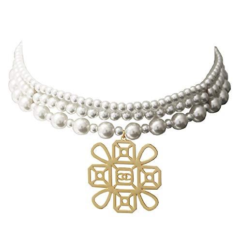 (Sweet Deluxe Choker Tess, mattgold/Pearl I auffälliges Halsband für Damen & Mädchen I Frauen Halskette Gothik Kropfband I Collar Necklace)