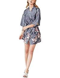 Mengmiao Sección Delgada Elegante Kimono Mujer Cuello en V Batas Cortos