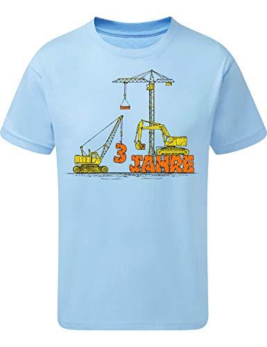 Geburtstags Shirt: Bagger & Kran 3 Jahre - Baustelle - Junge - T-Shirt für Jungen - Geschenk-Idee zm Geburtstag - Jungen - Kind Kinder - BAU - Traktor - Lastwagen - LKW - Sandkasten - Blau (116)