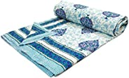 BLOCKS OF INDIA Hand Block Printed Cotton King Size Quilt/Rajai (90 inch X 108 inch) (Blue Motifs)