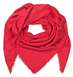 Becksöndergaard Damen Tuch Mill Rot Flame Scarlet Halstuch Quadratisch Soft Wärmend Feine Wolle 664001-613