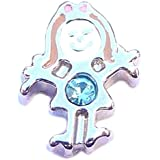 March birthstone GIRL - 8mm floating charm fits Living memory and Origami Owl style lockets