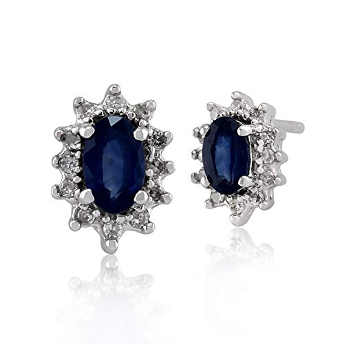 Gemondo Sapphire-Orecchini a grappolo, in oro bianco 9 kt, con zaffiro blu da 0,60 kt & Orecchini a lobo con diamante