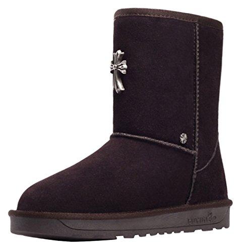 BUYINIAO Bottes femme Bottes de neige Boots de cuir hiverr Marron