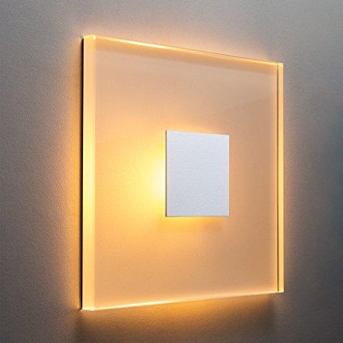 MeerkatSysteme SunLED GRAND - LED Treppenbeleuchtung Warmweiß 230V 3W Echtes Glas Treppenlicht mit Unterputzdose Stuffenlicht Wandeinbauleuchte