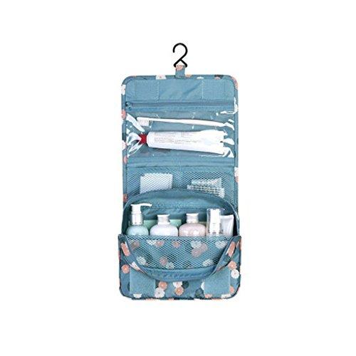 Yanhoo borsa cosmetica,beauty case da viaggio borsa da toilette cosmetico bag, viaggio toilette portatile lavare cosmetici borsa trucco sacchetto di stoccaggio 24 x 18.5 x 9.5cm (blu)