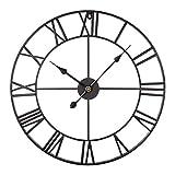 PHYNEDI Horloge Murale de Chiffres Romains Pendule Murale en métal Style Vintage, pour Salon Chambre Cuisine Maison, diamètre 40 cm (Rose)