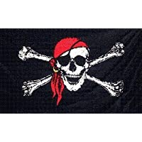 NEW 3x5 Pirate w/ Red Bandana 3 x 5 Jolly Roger Banner