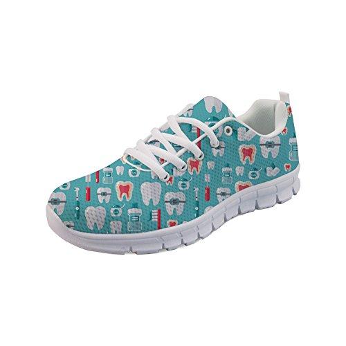 Nopersonality Leichtgewichtige Damen Sportschuhe Bequeme Mesh Freizeit Sneaker Laufschuhe Printed Dental - Blau, Größe: 42