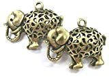 beadsvision 2 Charms 3D Elefant 33x26x13mm Farbe Bronze Anhänger Metall #S286