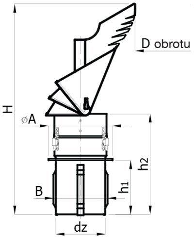 En acier inoxydable Cheminée Rotowent Dragon pour tuyau pour 150mm