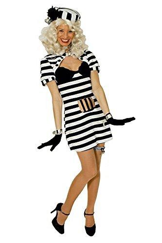 chwarz-weiß für Damen | Größe 40/42 | 1-teiliges Verbrecher Kostüm | Häftling Faschingskostüm für Frauen | Knast Kostüm für Karneval (Häftling Kostüm Frauen)