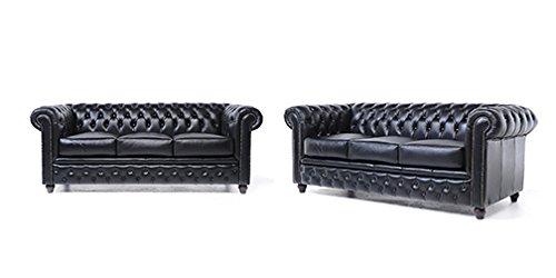 Original Chesterfield Sofas – 2 / 3 Sitzer – Vollständig Handgewaschenes Leder – Schwarz