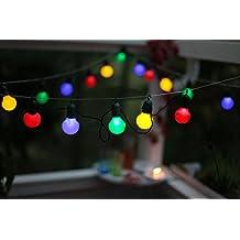 Kamaca - Guirnalda de luces (10 m, 20 bombillas LED de bajo consumo de colores, adecuada para interior y exterior, longitud total incluyendo interruptor: 1070 cm, incluye ganchos de sujeción y transformador)