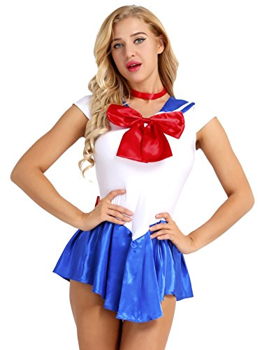 Tiaobug Sailor Moon Manga Crystal Cosplay Kostüm Sailor Venus Kostüm Schulmädchen-Matrose Uniform Anime Matrosen Kostüm Verkleidung Matrosenkleid Blau XXL(Brust - Blau Sexy Matrose Kostüm