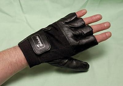 Global Leather Wheelchair Gloves - Black - Medium