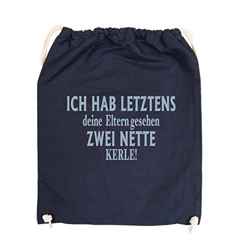 Comedy Bags - Ich hab letztens deine Eltern gesehen zwei nette Kerle! - Turnbeutel - 37x46cm - Farbe: Schwarz / Silber Navy / Eisblau