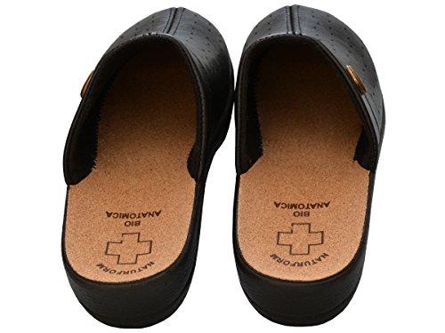 Da donna comfort sandali sabot pantofole in sughero lavoro modello 3512 Black